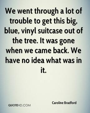 Caroline Bradford - We went through a lot of trouble to get this big, blue, vinyl suitcase out of the tree. It was gone when we came back. We have no idea what was in it.