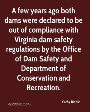 Cathy Riddle - A few years ago both dams were declared to be out of compliance with Virginia dam safety regulations by the Office of Dam Safety and Department of Conservation and Recreation.