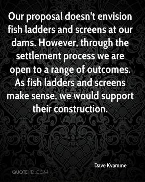 Dave Kvamme - Our proposal doesn't envision fish ladders and screens at our dams. However, through the settlement process we are open to a range of outcomes. As fish ladders and screens make sense, we would support their construction.