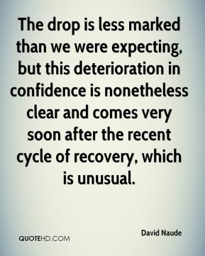 David Naude - The drop is less marked than we were expecting, but this deterioration in confidence is nonetheless clear and comes very soon after the recent cycle of recovery, which is unusual.
