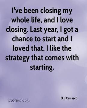 I've been closing my whole life, and I love closing. Last year, I got a chance to start and I loved that. I like the strategy that comes with starting.