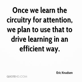Eric Knudsen - Once we learn the circuitry for attention, we plan to use that to drive learning in an efficient way.