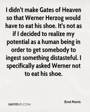 I didn't make Gates of Heaven so that Werner Herzog would have to eat his shoe. It's not as if I decided to realize my potential as a human being in order to get somebody to ingest something distasteful. I specifically asked Werner not to eat his shoe.