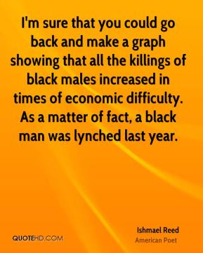 I'm sure that you could go back and make a graph showing that all the killings of black males increased in times of economic difficulty. As a matter of fact, a black man was lynched last year.