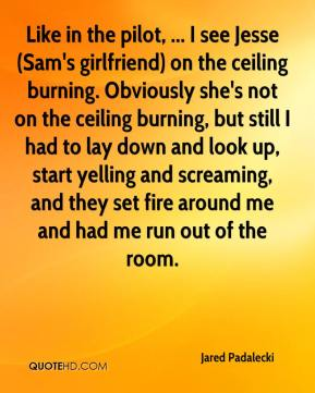 Like in the pilot, ... I see Jesse (Sam's girlfriend) on the ceiling burning. Obviously she's not on the ceiling burning, but still I had to lay down and look up, start yelling and screaming, and they set fire around me and had me run out of the room.