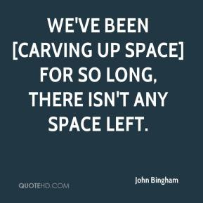 John Bingham  - We've been [carving up space] for so long, there isn't any space left.