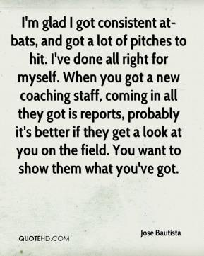 Jose Bautista  - I'm glad I got consistent at-bats, and got a lot of pitches to hit. I've done all right for myself. When you got a new coaching staff, coming in all they got is reports, probably it's better if they get a look at you on the field. You want to show them what you've got.