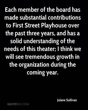 Each member of the board has made substantial contributions to First Street Playhouse over the past three years, and has a solid understanding of the needs of this theater; I think we will see tremendous growth in the organization during the coming year.