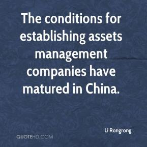 Li Rongrong  - The conditions for establishing assets management companies have matured in China.