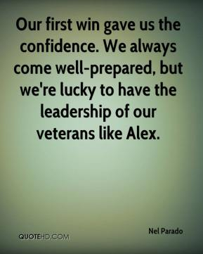 Our first win gave us the confidence. We always come well-prepared, but we're lucky to have the leadership of our veterans like Alex.
