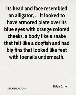 Ralph Carter  - Its head and face resembled an alligator, ... It looked to have armored plate over its blue eyes with orange colored cheeks, a body like a snake that felt like a dogfish and had big fins that looked like feet with toenails underneath.