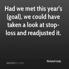 Richard Cody  - Had we met this year's (goal), we could have taken a look at stop-loss and readjusted it.