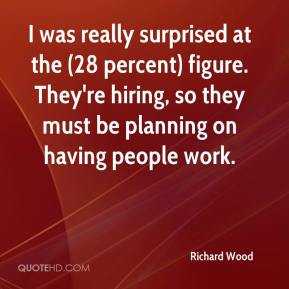 Richard Wood  - I was really surprised at the (28 percent) figure. They're hiring, so they must be planning on having people work.