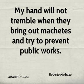 Roberto Madrazo  - My hand will not tremble when they bring out machetes and try to prevent public works.