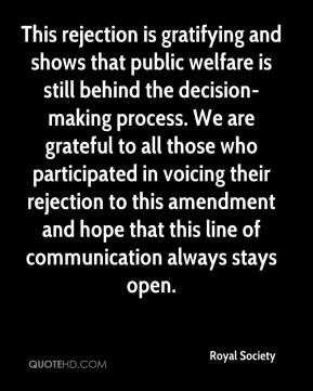 Royal Society  - This rejection is gratifying and shows that public welfare is still behind the decision-making process. We are grateful to all those who participated in voicing their rejection to this amendment and hope that this line of communication always stays open.