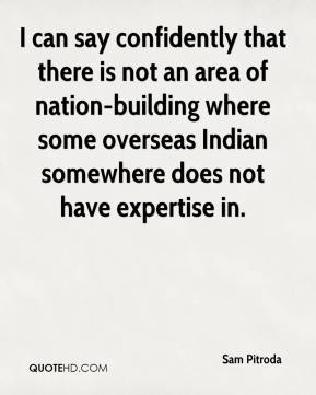 I can say confidently that there is not an area of nation-building where some overseas Indian somewhere does not have expertise in.