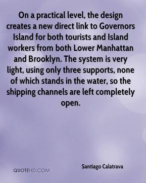 On a practical level, the design creates a new direct link to Governors Island for both tourists and Island workers from both Lower Manhattan and Brooklyn. The system is very light, using only three supports, none of which stands in the water, so the shipping channels are left completely open.