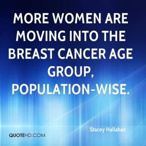More women are moving into the breast cancer age group, population-wise.