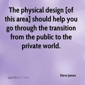 The physical design [of this area] should help you go through the transition from the public to the private world.