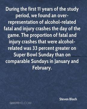 Steven Bloch  - During the first 11 years of the study period, we found an over-representation of alcohol-related fatal and injury crashes the day of the game. The proportion of fatal and injury crashes that were alcohol-related was 33 percent greater on Super Bowl Sunday than on comparable Sundays in January and February.