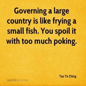 Governing a large country is like frying a small fish. You spoil it with too much poking.