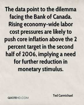 Ted Carmichael  - The data point to the dilemma facing the Bank of Canada. Rising economy-wide labor cost pressures are likely to push core inflation above the 2 percent target in the second half of 2006, implying a need for further reduction in monetary stimulus.