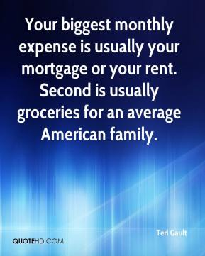 Teri Gault  - Your biggest monthly expense is usually your mortgage or your rent. Second is usually groceries for an average American family.