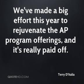 Terry D'Italia  - We've made a big effort this year to rejuvenate the AP program offerings, and it's really paid off.