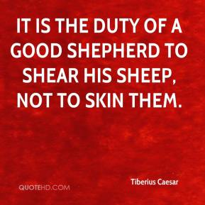 It is the duty of a good shepherd to shear his sheep, not to skin them.