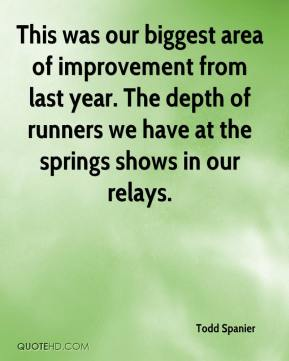 Todd Spanier  - This was our biggest area of improvement from last year. The depth of runners we have at the springs shows in our relays.