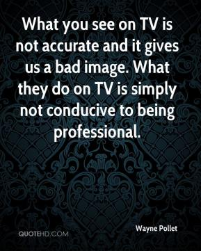 Wayne Pollet  - What you see on TV is not accurate and it gives us a bad image. What they do on TV is simply not conducive to being professional.