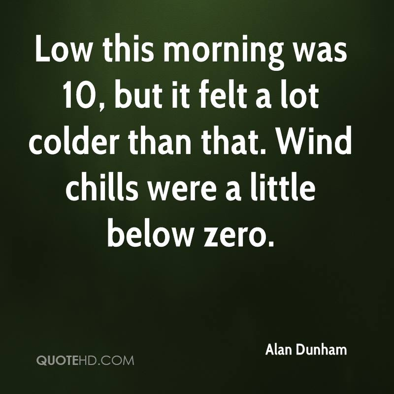 Low this morning was 10, but it felt a lot colder than that. Wind chills were a little below zero.