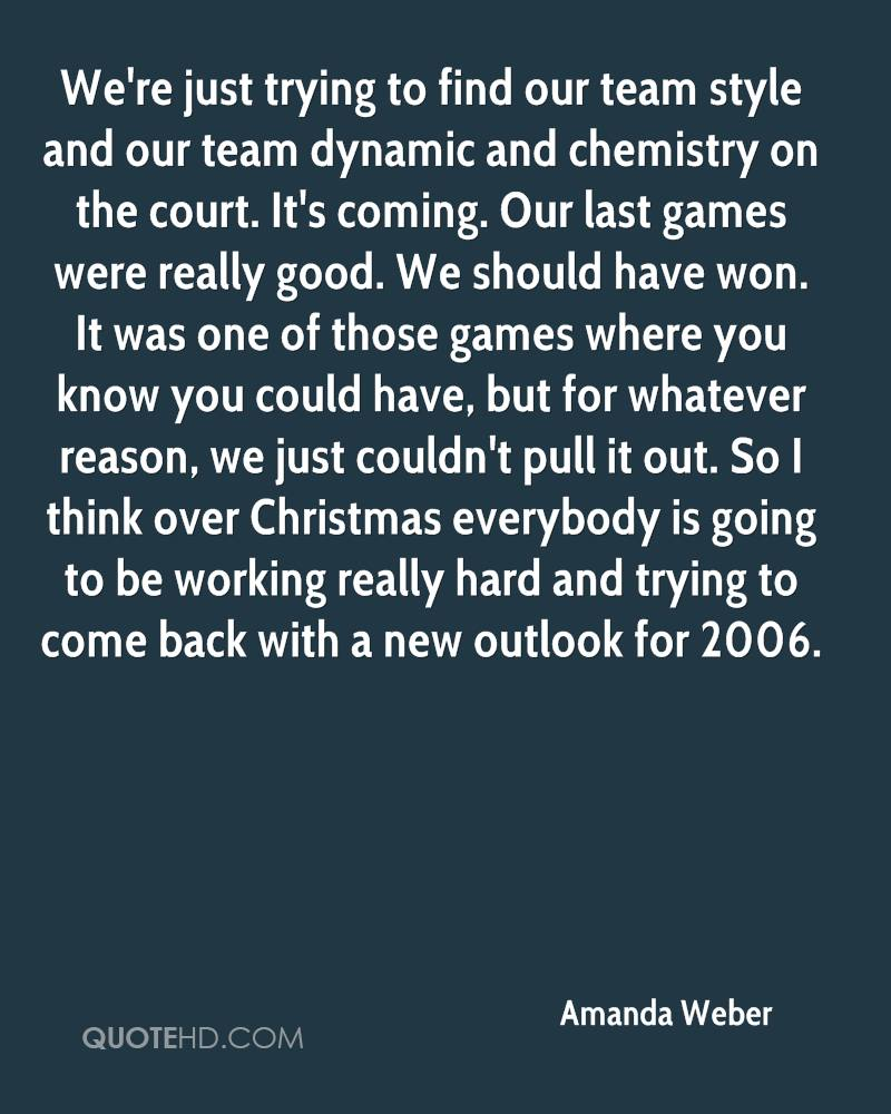 We're just trying to find our team style and our team dynamic and chemistry on the court. It's coming. Our last games were really good. We should have won. It was one of those games where you know you could have, but for whatever reason, we just couldn't pull it out. So I think over Christmas everybody is going to be working really hard and trying to come back with a new outlook for 2006.