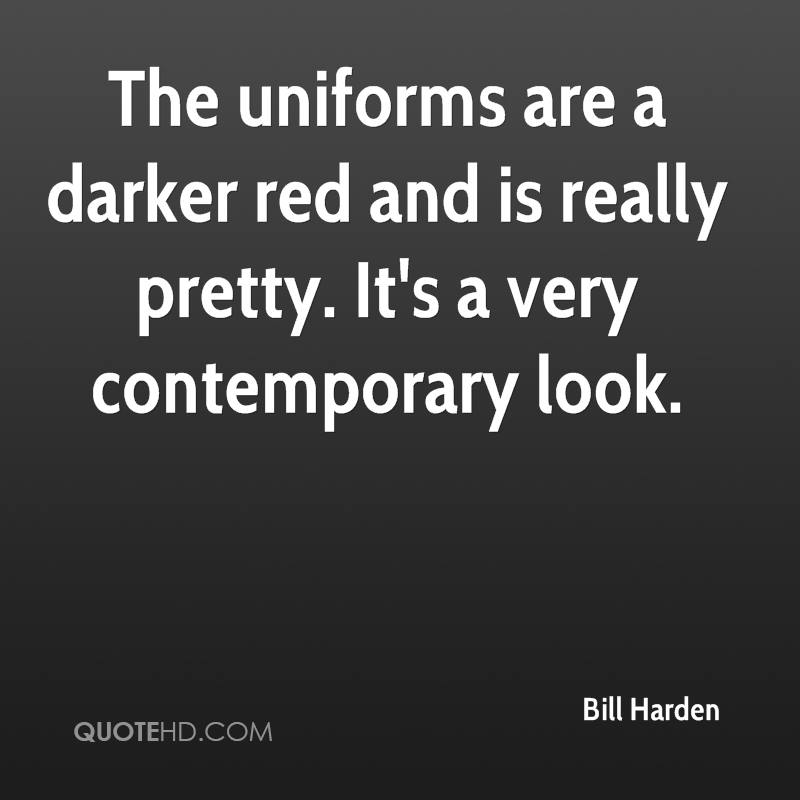 The uniforms are a darker red and is really pretty. It's a very contemporary look.