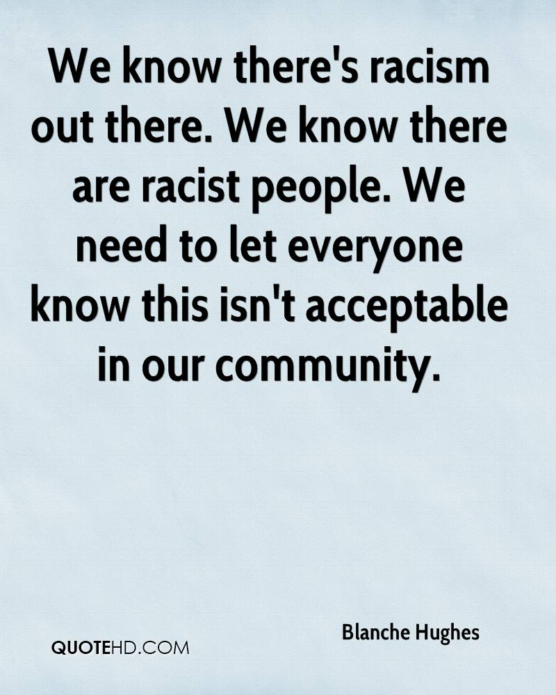 Quotes About Racism | Blanche Hughes Quotes Quotehd