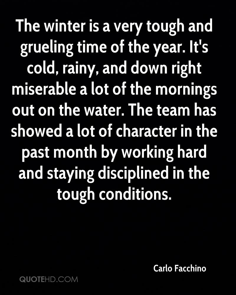 The winter is a very tough and grueling time of the year. It's cold, rainy, and down right miserable a lot of the mornings out on the water. The team has showed a lot of character in the past month by working hard and staying disciplined in the tough conditions.