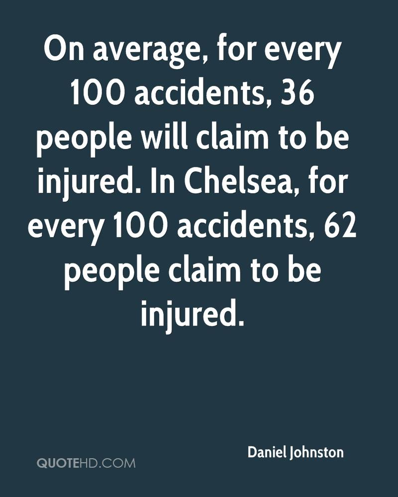 On average, for every 100 accidents, 36 people will claim to be injured. In Chelsea, for every 100 accidents, 62 people claim to be injured.