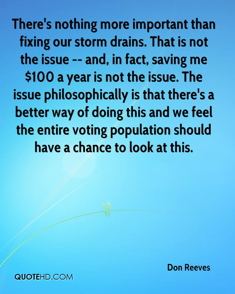 There's nothing more important than fixing our storm drains. That is not the issue -- and, in fact, saving me $100 a year is not the issue. The issue philosophically is that there's a better way of doing this and we feel the entire voting population should have a chance to look at this.