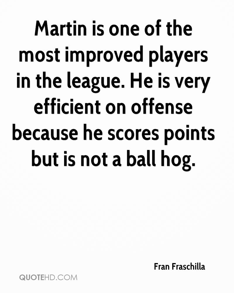 Martin is one of the most improved players in the league. He is very efficient on offense because he scores points but is not a ball hog.