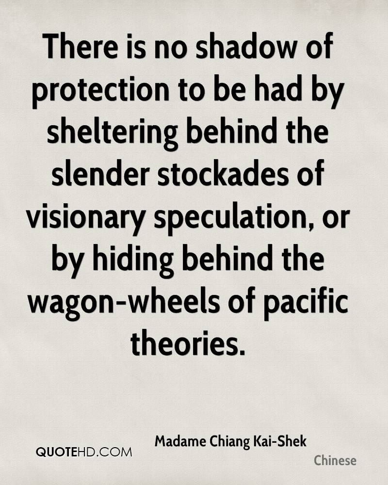 There is no shadow of protection to be had by sheltering behind the slender stockades of visionary speculation, or by hiding behind the wagon-wheels of pacific theories.