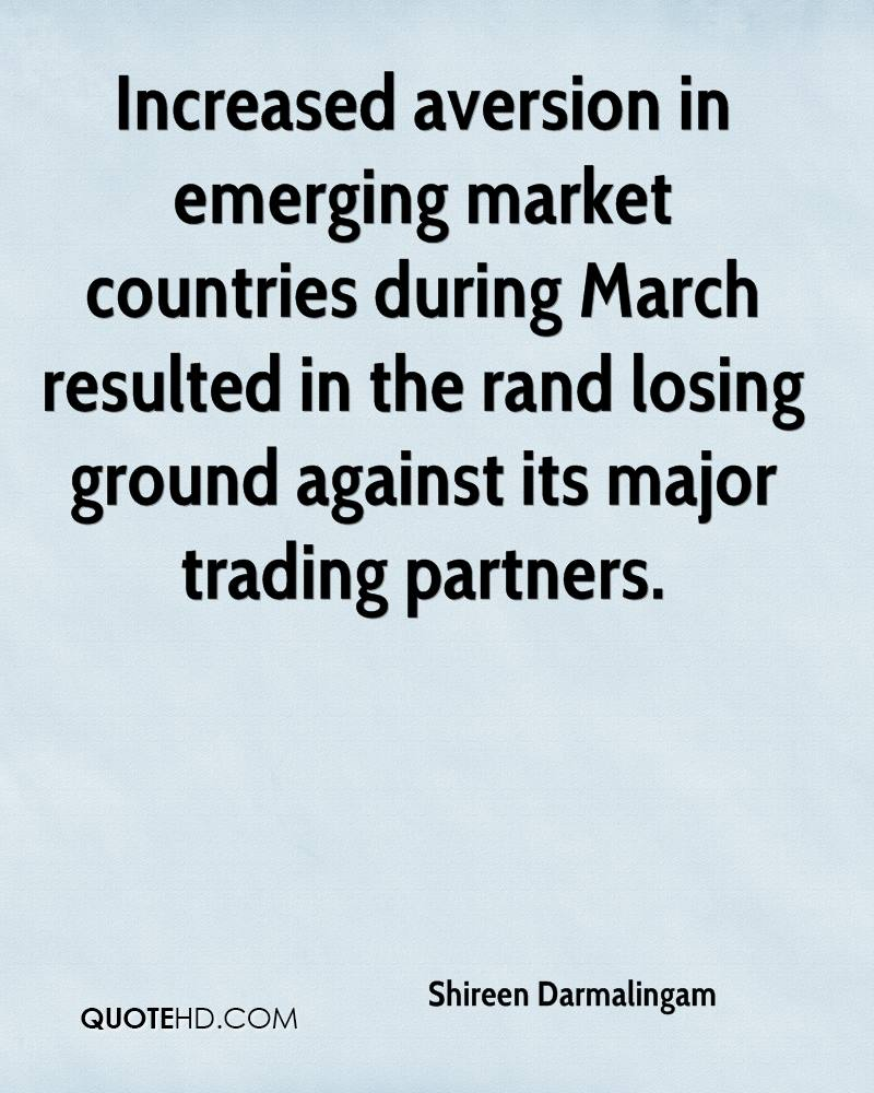 Increased aversion in emerging market countries during March resulted in the rand losing ground against its major trading partners.