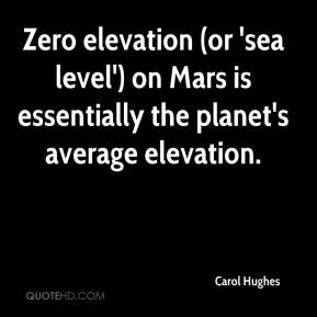 Carol Hughes - Zero elevation (or 'sea level') on Mars is essentially the planet's average elevation.