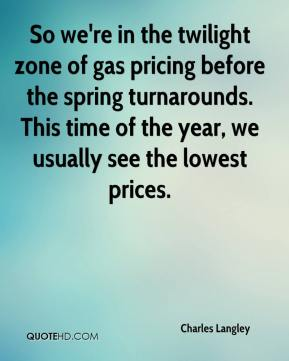 Charles Langley - So we're in the twilight zone of gas pricing before the spring turnarounds. This time of the year, we usually see the lowest prices.