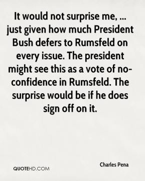 Charles Pena - It would not surprise me, ... just given how much President Bush defers to Rumsfeld on every issue. The president might see this as a vote of no-confidence in Rumsfeld. The surprise would be if he does sign off on it.