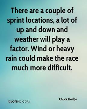 Chuck Hodge - There are a couple of sprint locations, a lot of up and down and weather will play a factor. Wind or heavy rain could make the race much more difficult.