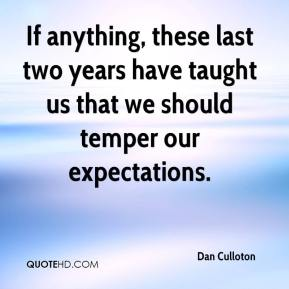 If anything, these last two years have taught us that we should temper our expectations.
