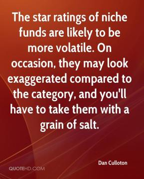 Dan Culloton - The star ratings of niche funds are likely to be more volatile. On occasion, they may look exaggerated compared to the category, and you'll have to take them with a grain of salt.