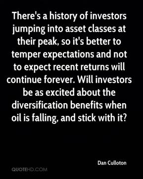 There's a history of investors jumping into asset classes at their peak, so it's better to temper expectations and not to expect recent returns will continue forever. Will investors be as excited about the diversification benefits when oil is falling, and stick with it?