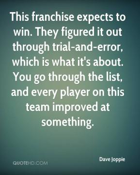 Dave Joppie - This franchise expects to win. They figured it out through trial-and-error, which is what it's about. You go through the list, and every player on this team improved at something.