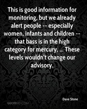 Dave Stone - This is good information for monitoring, but we already alert people -- especially women, infants and children -- that bass is in the high category for mercury, ... These levels wouldn't change our advisory.